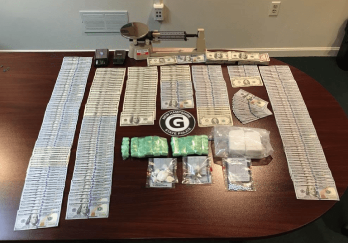 Drugs and cash confiscated during an FBI/State Police investigation.
