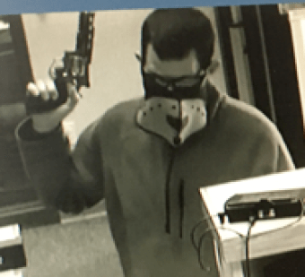 Bank robbery suspect captured on surveillance video.