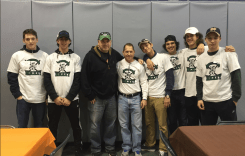 L to R, Jack Cavanaugh, Zach McKenna, City Athletic Director Christopher Donovan, Coach Brian Stone, Logan Pacheco, Cody Lappas, Keenan Alnahas and Curtis Chiesa.