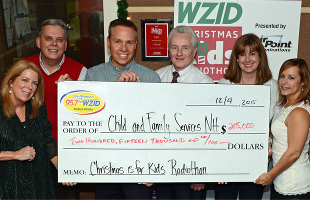Big check, and a big thank you from WZID and Child & Family Services to all who donated.