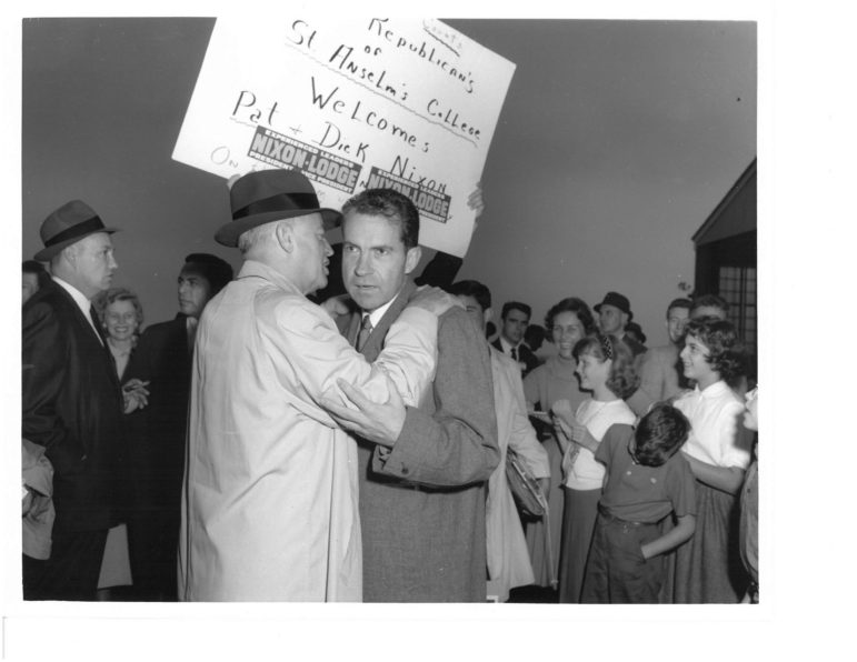 Sen. Styles Bridges whispering in Nixon's ear in 1960 at Manchester's Grenier Field.