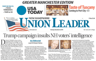 Union Leader front page, Dec. 28. 2015.