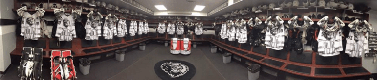 Pre-game view of the locker room, with Star Wars jerseys at the ready.