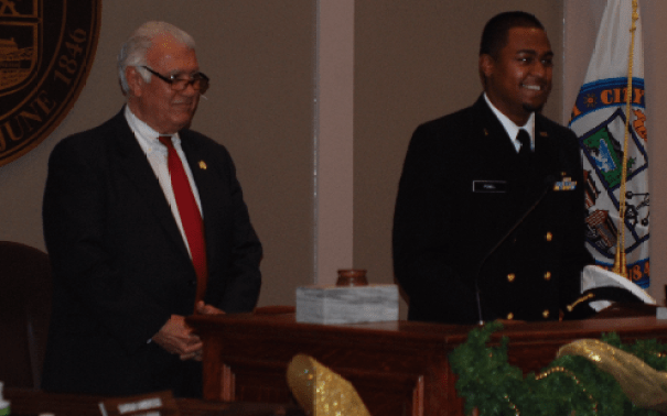 Mayor Ted Gatsas, left, and West Student Desmond Powell.