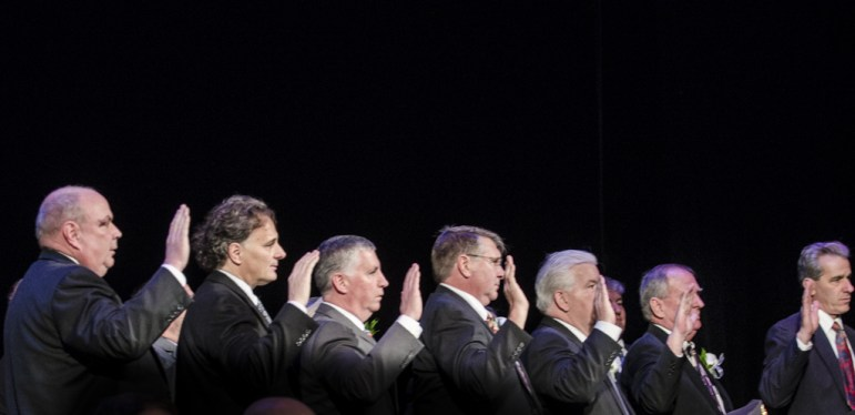 Members of the Board of Aldermen are sworn in Jan. 5, 2016 at the Palace Theatre.