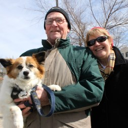 Bob and Sue Dolan of Manchester, with Lucky.