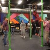 Checking out the pull-up bars.