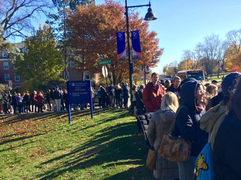 Part of a long and growing line outside the Whittemore Arena at the University of New Hampshire in Durham where President Obama will hold a get-out-the-vote rally later today.