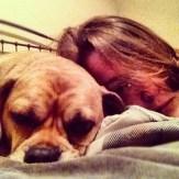 Sleepy momma and puggle
