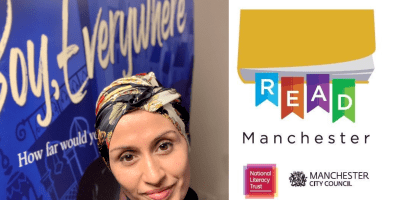 Read Manchester logo with Boy, Everywhere cover and author A M Dassu