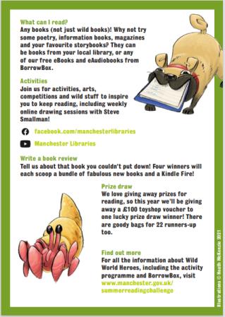 Summer Reading Challenge, wild world heroes leaflet.  Join the wild world heroes this summer 5 July to 18 September