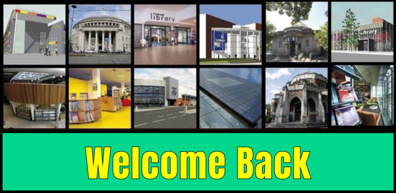 Manchester Libraries collage featuring welcome back text