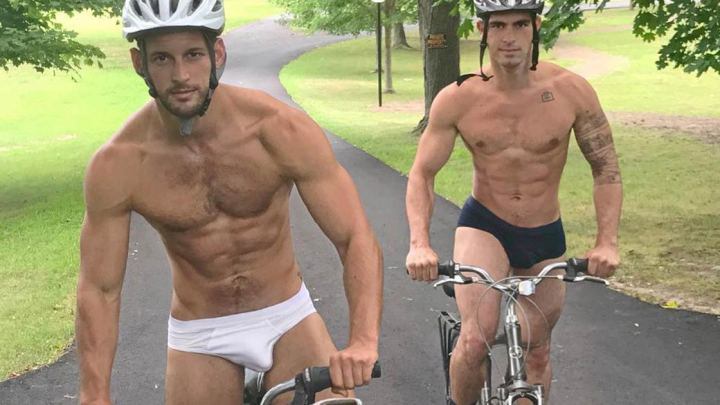 Max Emerson, on a bicycle, in briefs – just enough to make you swoon