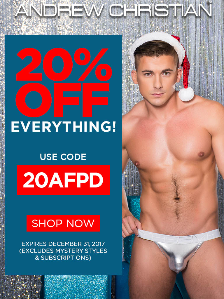 Save 20 percent at Andrew Christian this Christmas with the code 20AFPD