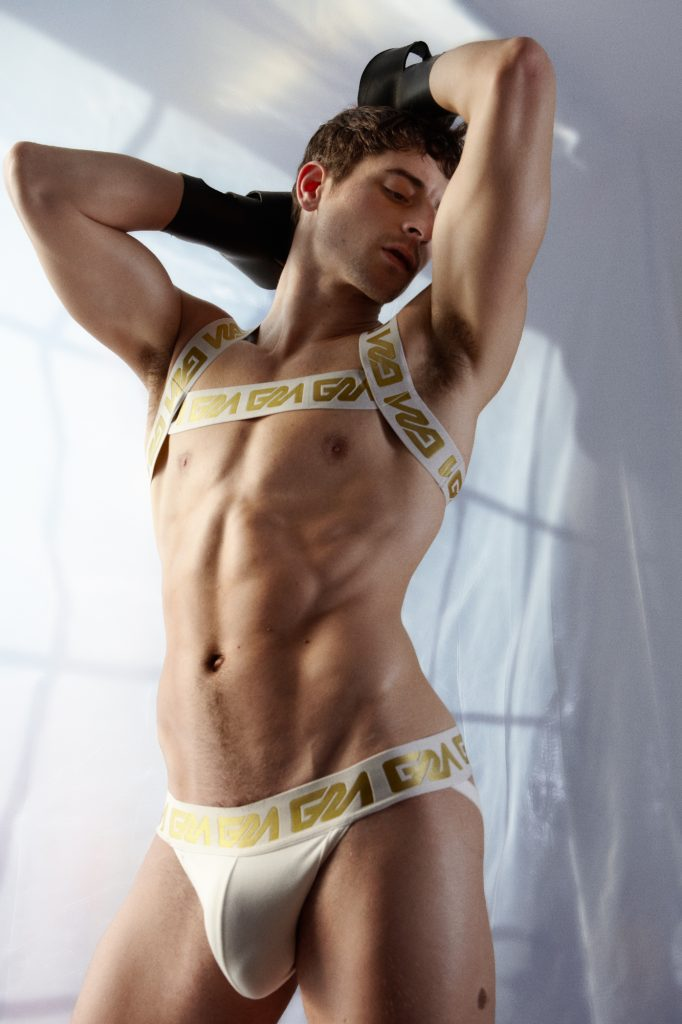 Garcon Model Gold Collection with Taylor Reign - white jockstrap and harness