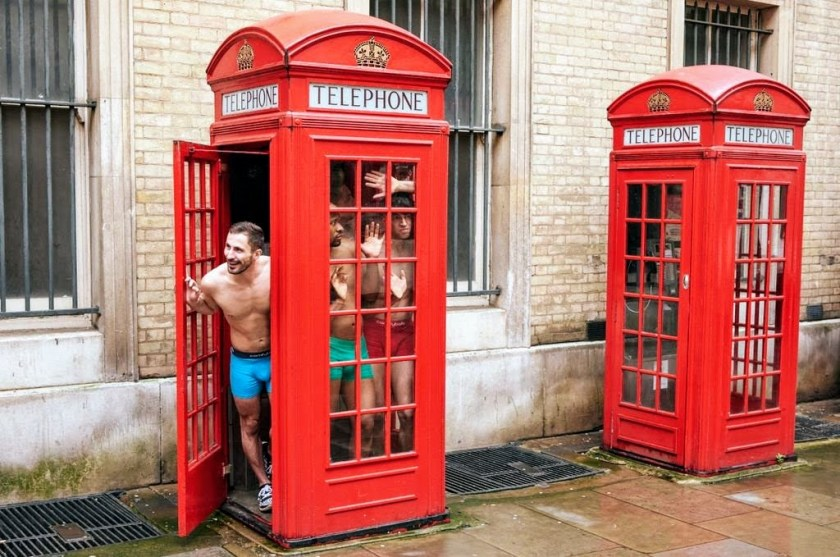 Comfyballs in a London payphone