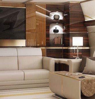 Greenpoint Boeing 747-8 Interieur Innenraum Design Wonzimmer VIP Privatjet Luxus Ausstattung Couch Fernseher Leder Teppich