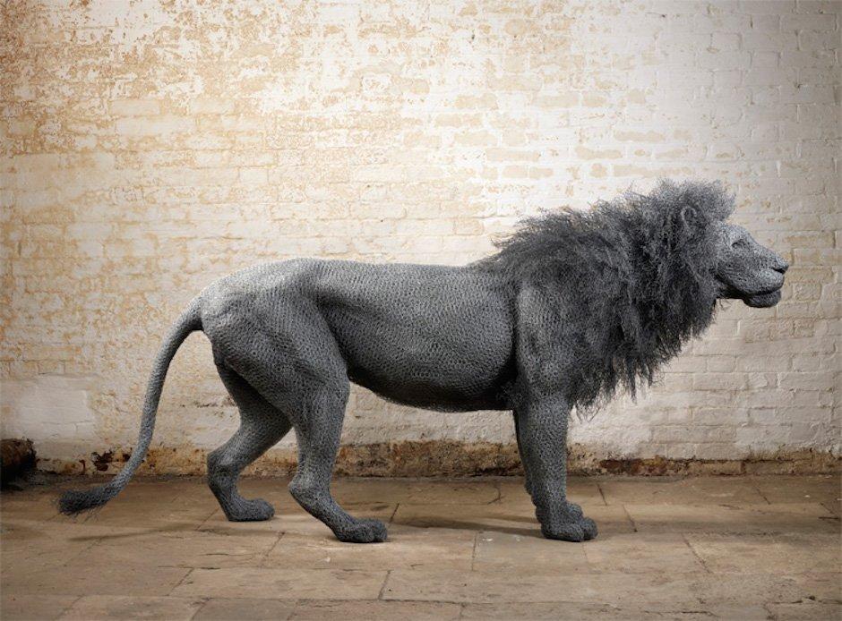 Löwe Lion Draht Tier Kunst Animal Skulptur Kendra Haste