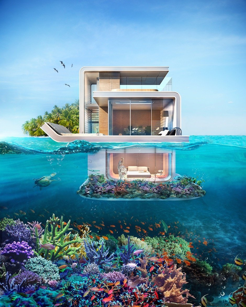 Floating Seahorse Three Level House in Dubai Blueprint Concept