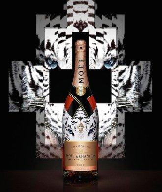 Marcelo Burlon Moët & Chandon Nectar Imperial Rose White Tiger Kopf Tier Print Design Flasche Champagner