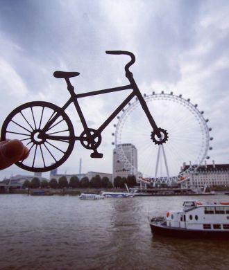Rich McCor Paperboyo London Eye Bicycle Cut Out Fahrrad Ausgeschnitten Papier London Eye Themse instagram