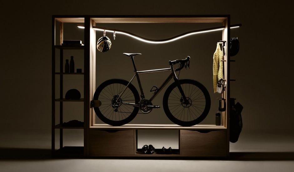 Bike Shelf Vadolibero Fahrradständer Fahrrad Kommode Regal Schrank Ablage Fächer Schubladen Beleuchtung Rennrad Stauraum