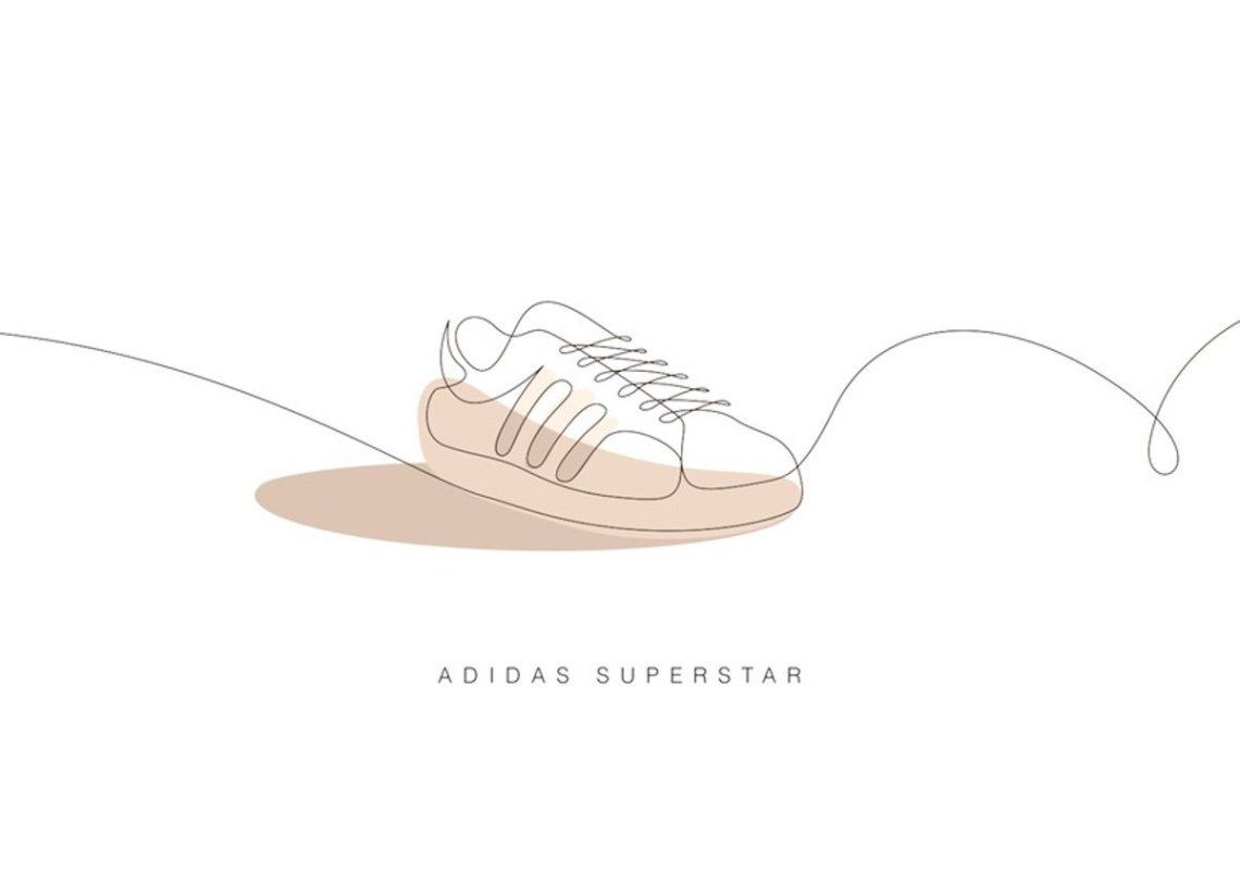 one line sneaker illustration adidas superstar