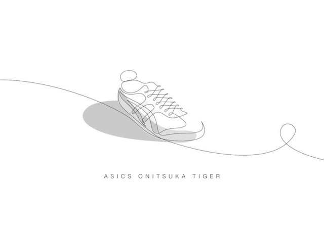one line asics onitsuka tiger sneaker illustration Differantly