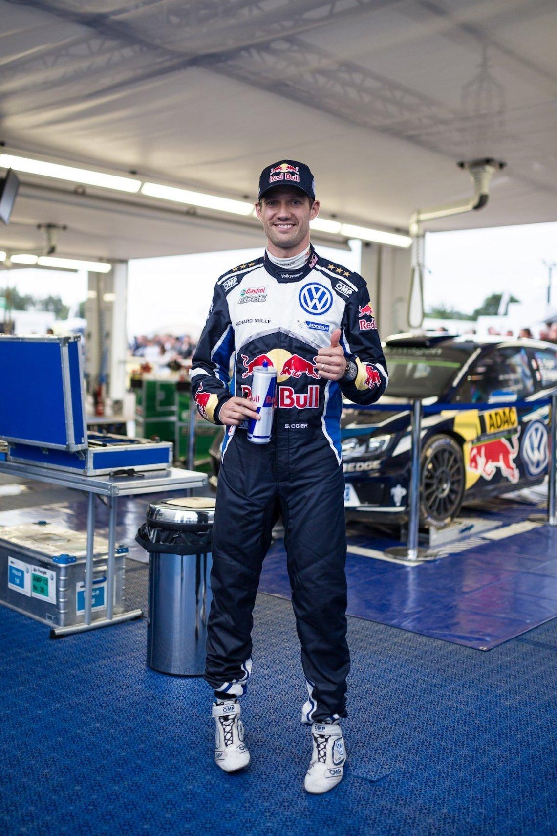Sebastien Ogier Thumbs Up Red Bull Box VW Polo WRC 2016 ADAC Rallye Deutschland