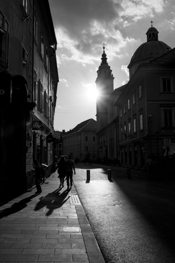 Ljubljana-Altstadt-Schwarz-Weiss