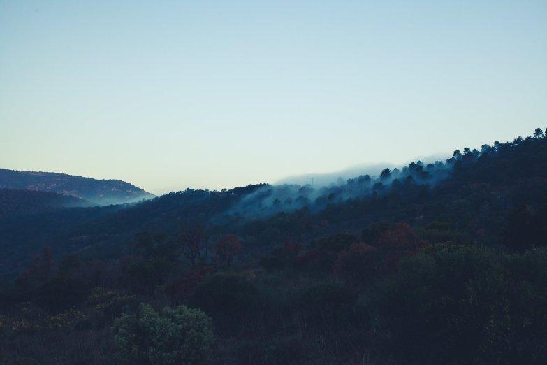 Rollender Nebel im Gebirge