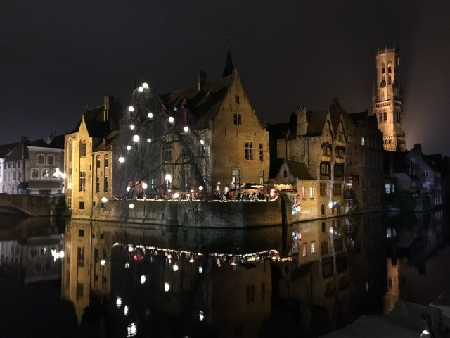 Bruges at night on Escorted European Motorhome Tour