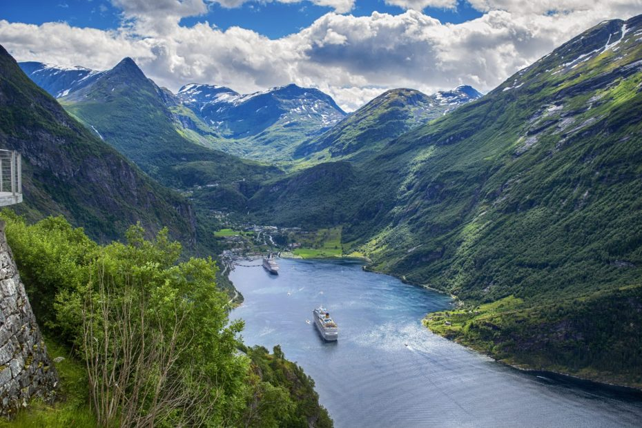 Geiranger Fjord with Cruise Ships Escorted Motorhome Tour Stunning Norway