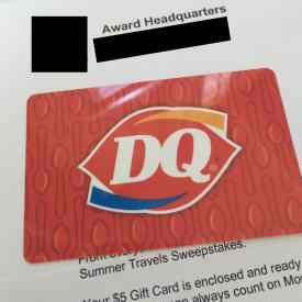 a picture of a gift card won from a sweepstakes