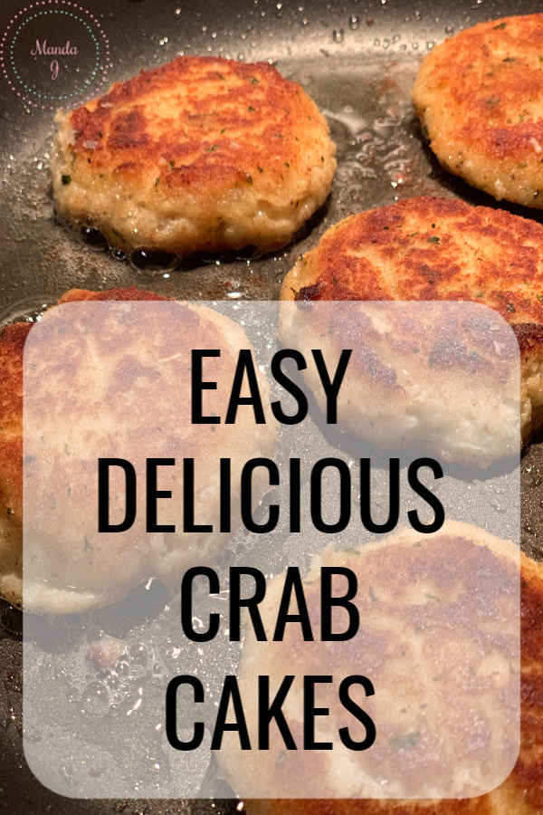 crab cakes with text overlay