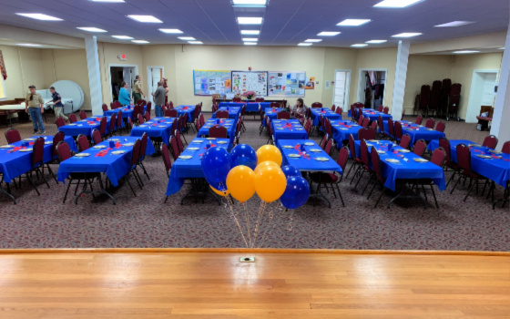 Finished Blue and Gold Banquet decorated room