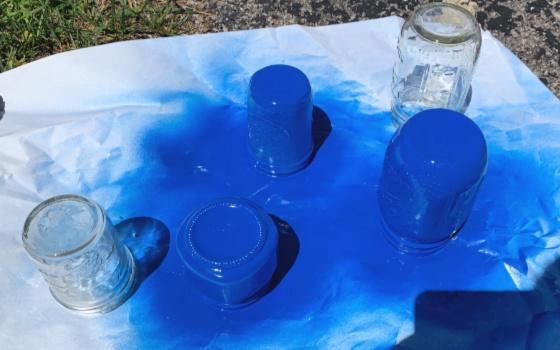 Blue Painted Mason Jars