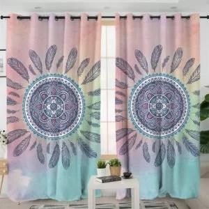 rideau motif mandala plumes voilage bleu et rose