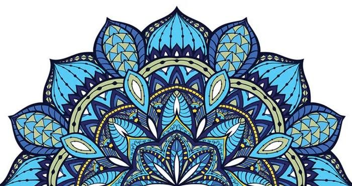 fantastico mandala colorato blu