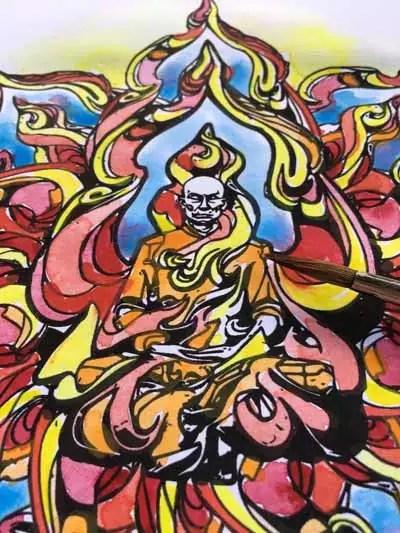 mandala burning-monk-acquarello-close-up