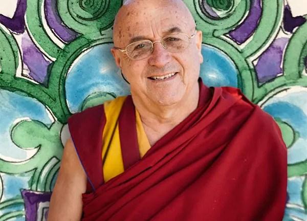Mandala acquarello con il monaco buddista Matthieu Ricard