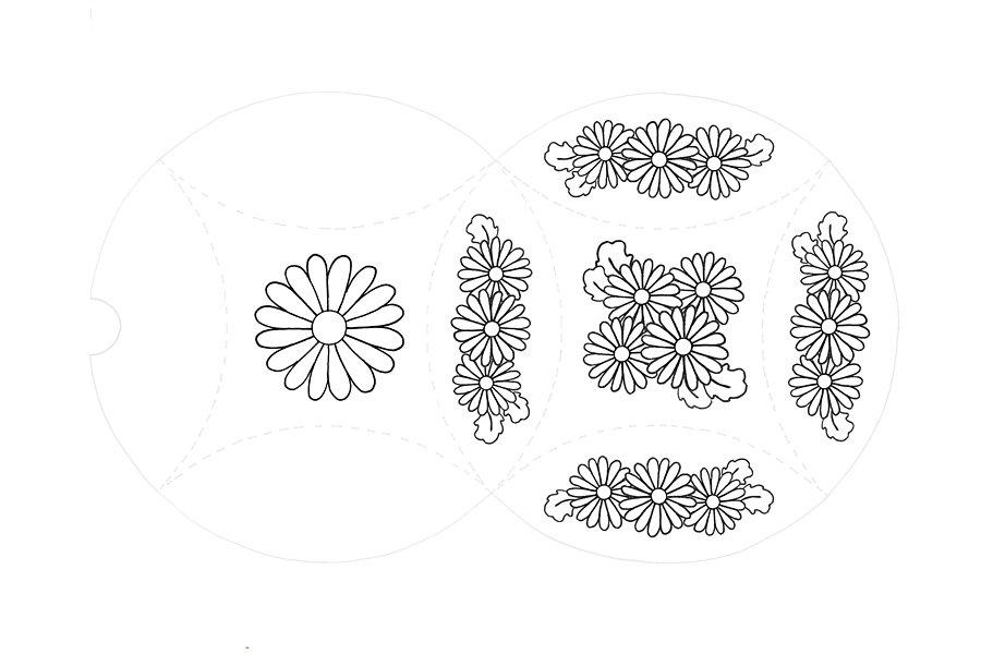Mini gift box template with pre-drawn daisy design