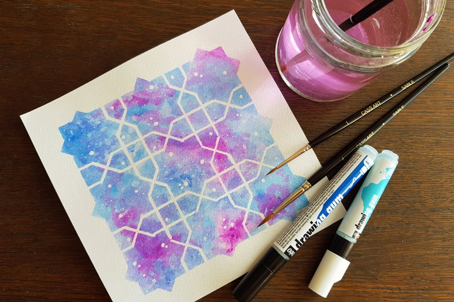 Arabic Geometric Art | How to draw an eight-pointed star and cross pattern