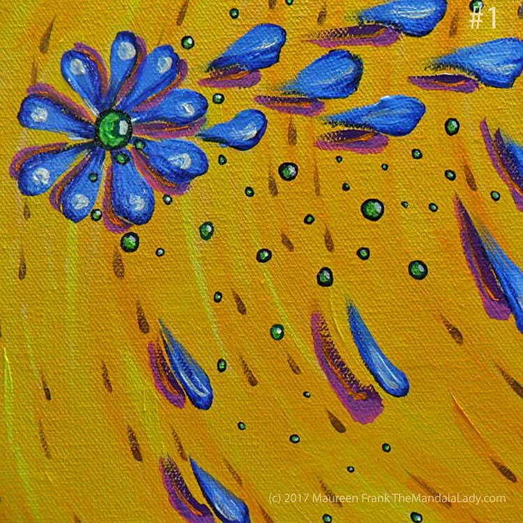 Abstract Mandala #2: 1 - glaze yellow over white background streaks