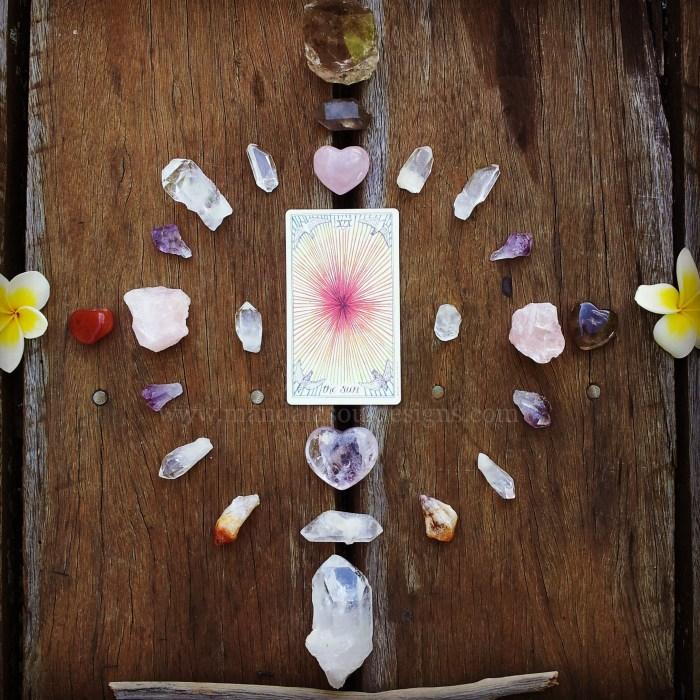 The Sun Tarot Card & Crystal Grid - The Wild Unknown Tarot via Mandala Soul Designs