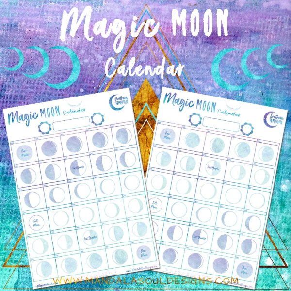 Magic Moon Calendar - Free Worksheet to connect to YOUR cycles & Rhythms with the Moon as your guide! || Mandala Soul Designs