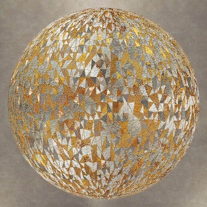 כדור בגוונים וטקסטורות מטאליות. להדפסה על קנבס או זכוכית. בגווני זהב, כסף וארד.
