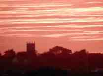 Walberswick church in an October sunset