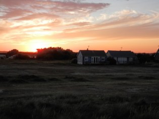 Sunset view from the dunes - the Suffolk sun setting behind Mandalay