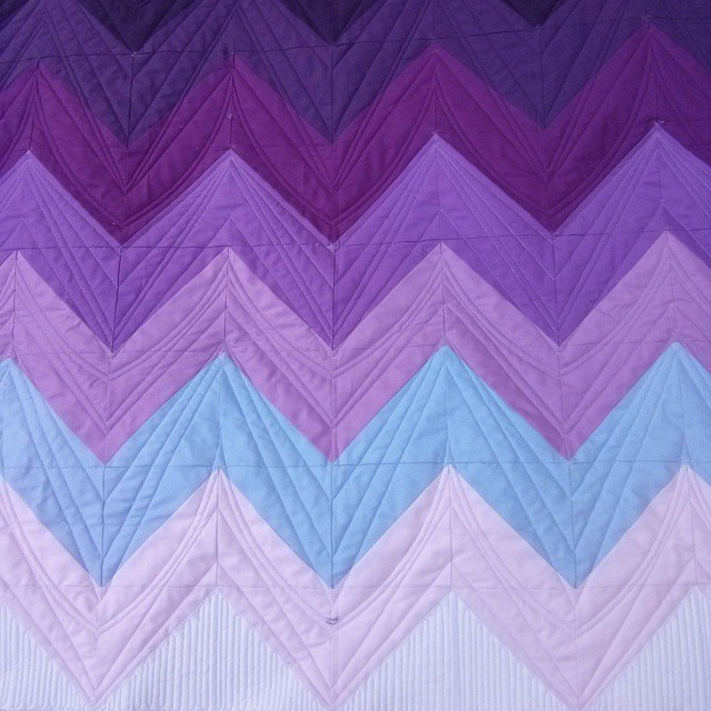 This one arrived back to its home today! A little bit of a different take on chevrons. Thanks for letting me quilt such a fun top